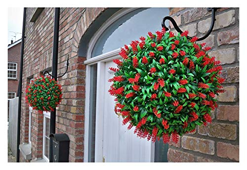 2 Artificial (TM) 40cm Lush Red Long Leaf Lavande Pendentif Flower Balls Topiary Grass ** UV Fade Protected **