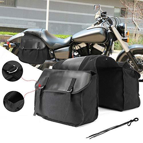RENNICOCO Bolso de la Silla de Montar de la Motocicleta Tronco Viaje Moto Bicicleta Negro Lona Impermeable Bolsa de sillín Fresco