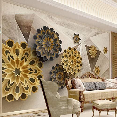 Window Stickers Three-Dimensional Polygonal Abstract Flower 300X210cm Non-Woven Art Print 3D Wallpaper Mural Photo Kids Bedroom Kitchen Poster Decoration – Mural Consists of 6 Pieces
