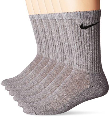 NIKE Unisex Performance Cushion Crew Socks with Bag (6 Pairs), Dark Grey Heather/Black, Large