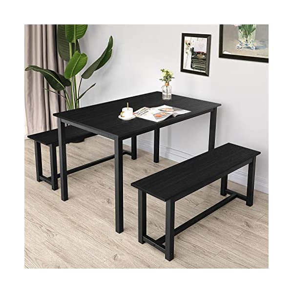 BAHOM 3 Pieces Kitchen Dining Table with Bench Set for 2 Solid Wooden Tabletop and...