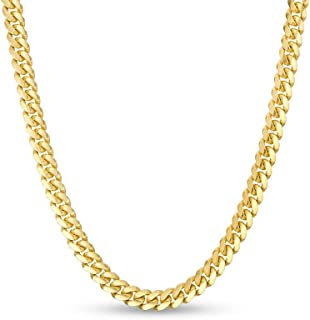 """Verona Jewelers 10K Gold Unisex 2.5MM- 4.5MM Miami Cuban Link Chain Necklace- 10k Necklaces, Gold Cuban Chain, 10k Cuban Necklace, 10K Gold Chain 8"""" 18"""" 20"""" 22"""" 24"""" Made in Italy…"""