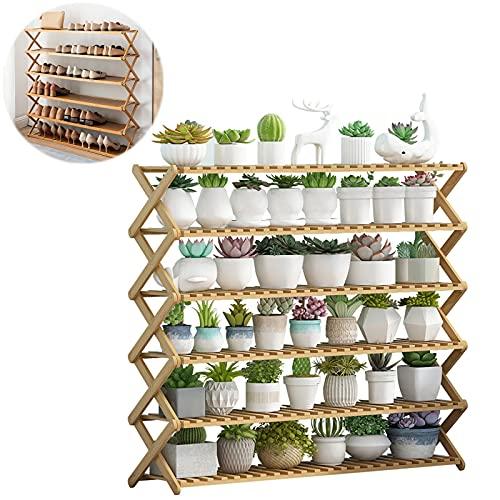 Zapatero de bambú, plegable, almacenamiento independiente, estantería multifunción, para salón, vestíbulo, baño (100)