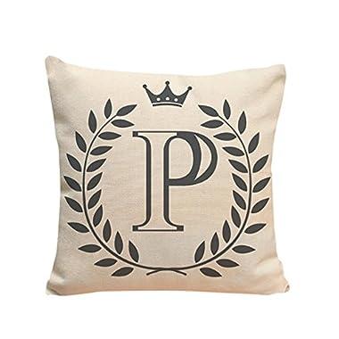 Kimloog 18 x 18 Linen Throw Pillow Case Leaf Letters Pattern Decorative Square Cushion Cover (P)