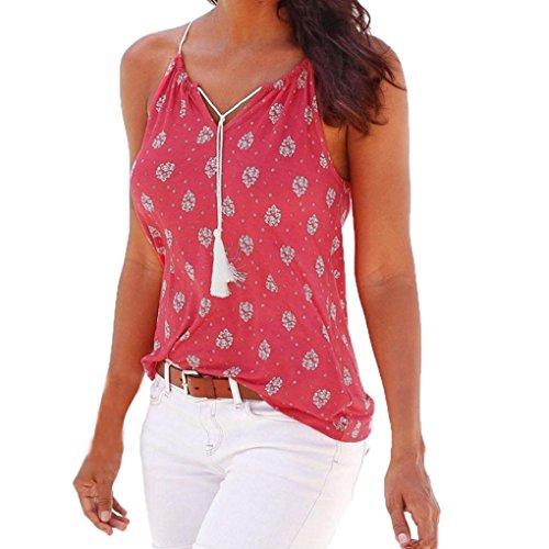 hunpta Frauen Sommer Druck Sleeveless Weste Hemd Trägershirts Blusen T-Shirt (Hot Pink, XL)
