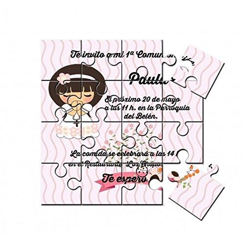 Invitación de Comunión niña muñeca en puzzle en lata con abre fácil - Pack de 6 unidades