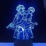 ASH LYNX Y EIJI OKUMURA LED 3d ANIME LAMP BANANA FISH 3D Led 7 colores de luz Anime japonés Control remoto Base lámpara de mesa