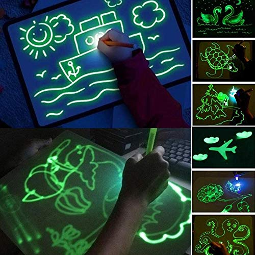 Light Drawing - Fun And Developing Toy - Doodle Board Drawing Tablet, Drawing Pad Board Glow in Dark, Kids Painting Board Developing Educational Toy A3