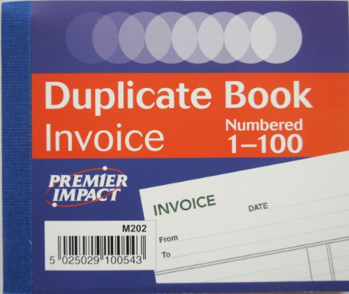 Premier Impact (By Silvine) Duplicate Invoice Book 102x125mm (100 Numbers) x1 Single Book