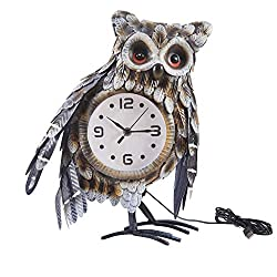 Kircust Handmade Owl Animal Table Clock,Vintage Metal Owl Bird Statue Pendulum Deck Clock with 7 Color Lights for Living Room Bedroom Children Room and Home Decor, 14.6-Inch Tall