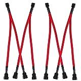 PEAK-EU Juego de 4 cables de extensión para ventilador PWM de ordenador, cable de alimentación de 1 a 2 convertidores con 4 pines y 3 pines, cable trenzado, color rojo