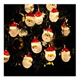 WXFQX Luz LED de Santa Cadena 3 Modos de decoración de Navidad del Cuento de Hadas de Cuerda Iluminación Interior y Exterior con Pilas Suministros de Vacaciones Luci solari Delle Fate