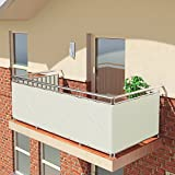 BALCONIO Brise Vue pour Balcon - 600 x 85 cm - Blanc - Impermeable et imprégnée