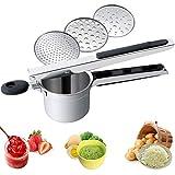 Ricer de patatas de acero inoxidable 3 discos intercambiables y mango fácil de usar para hacer puré de patatas esponjoso, mermelada de frutas, comida para bebés