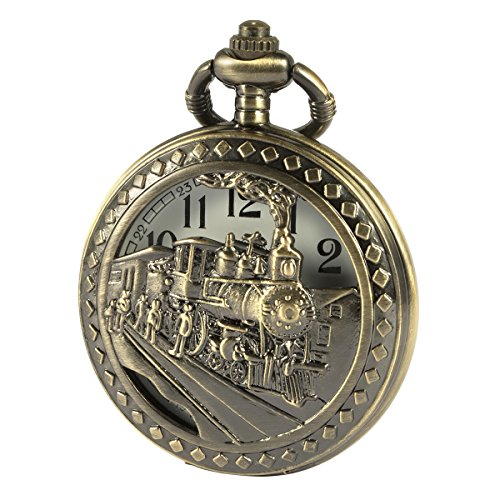 SIBOSUN Antik Männer Taschenuhr Mit Kette Bronze-Fall 3D Lokomotive Dampf Zug Eisenbahn Hohl + Box