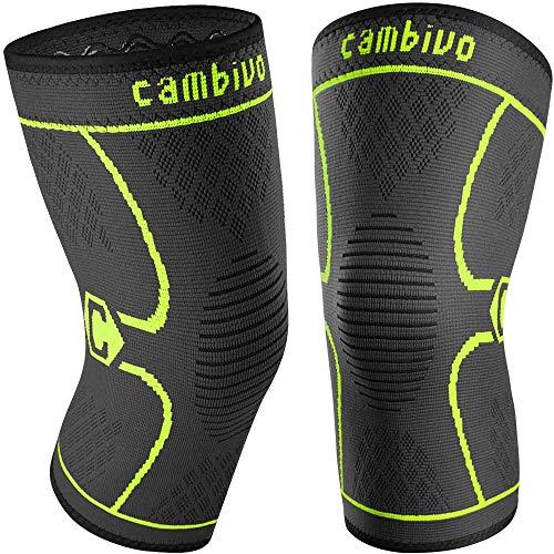 CAMBIVO 2 x Rodilleras Menisco y Ligamento, Rodillera Deportiva para Hombre y Mujer, Rodillera Compresion para Running, Voleibol, Artrosis, Tendinitis (XL, Verde)