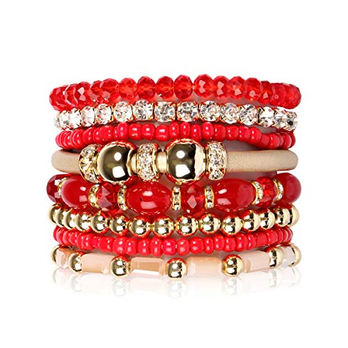 RIAH FASHION Multi Layer Strand Sparkly Stack Bracelets - Rhinestone Crystal Colorful Beaded Statement Stretch Adjustable Bangle Set (Leatherette Mix - Red)