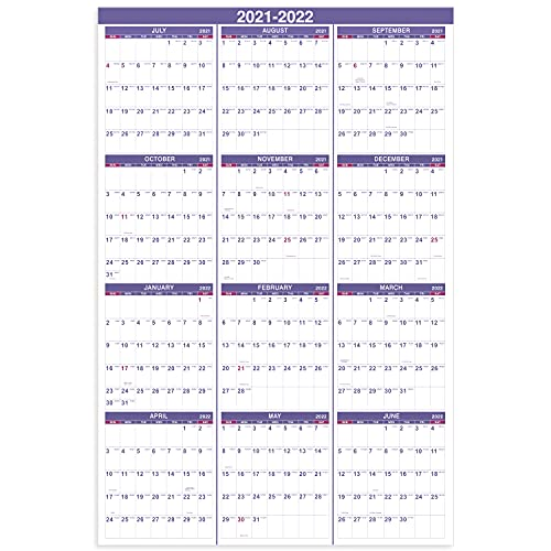 2021-2022 Yearly Wall Calendar - 2021-2022 Wall Calendar with Julian Date, From July 2021 to June...