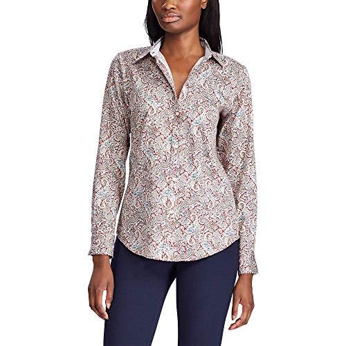 Chaps Women's Petite Long Sleeve Non Iron Cotton Sateen-Shirt, Red/Blue, PM