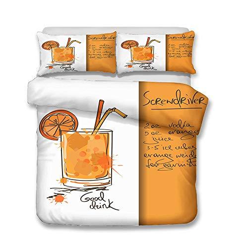 Juego de cama de franela con diseño de helado y bebidas frías, 3 piezas, tamaño A3, 140 x 210 cm + 50 x 75 cm x 2