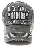Women's Baseball Cap Jeep Hair Don't Care Glitter Monogram Hat, Charcoal Black