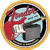 Desperate Enterprises Guitars & Amplifiers Round Tin Sign, 11.75' Diameter