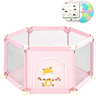 YEHL Playpen Baby Girl Play Yard Toddler Fence 6-Panel Safety Game Fence Indoor Playground with Crawling Mat and Balls