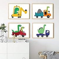 ボーイルームウォールアートプリント恐竜キャンバス絵画モジュラープリントプレイルームポスターかわいいトラックのテーマ画像保育園キッズルームの装飾| 30x45cmx4Pcs /フレームなし