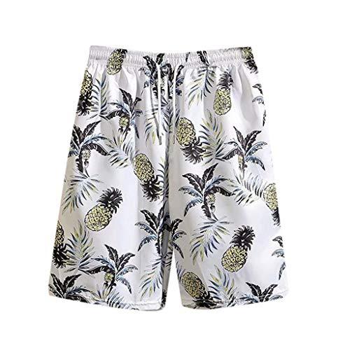 Xniral Herren Shorts Sommer Mode Drucken Strandhose Urlaub Beiläufig Hawaiian Shorts Elastische Taille Tunnelzug Sommer Lose Badeshorts(d Weiß,L)