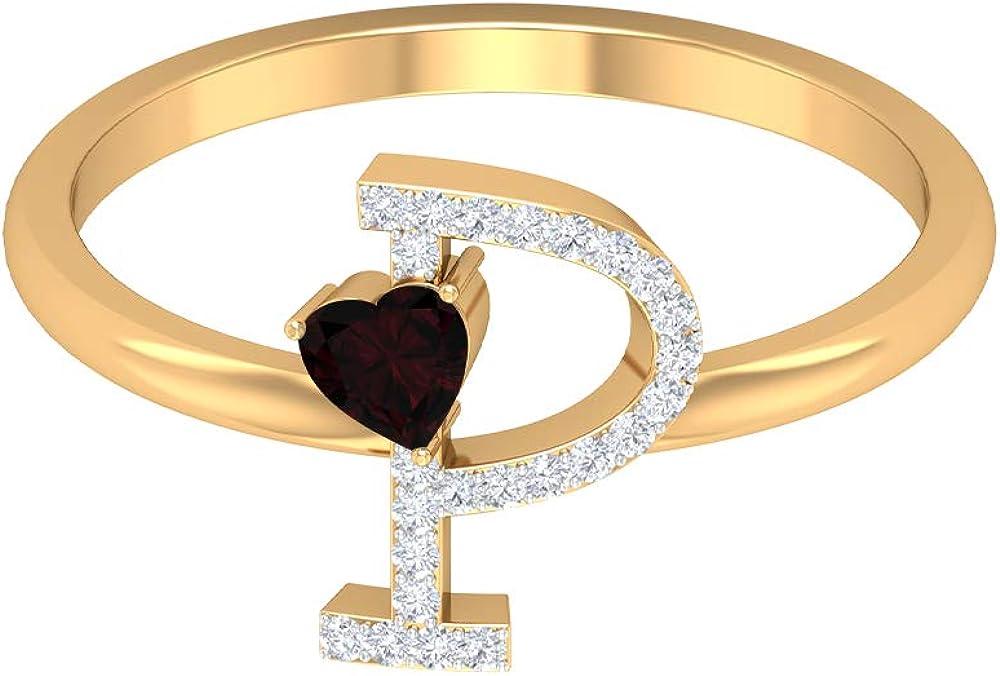 3.50 MM Now on sale Heart Shaped Cheap mail order shopping Garnet HI-SI P Diamond Initial Ring