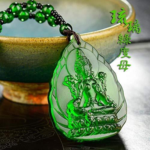 WLOWS Geweihte Grüne Tara Männliche Anhänger Manjushri Bodhisattva Amulett Anhänger Weibliche Modell Glasierte Medizin Buddha Herz Mantra Anhänger,Green