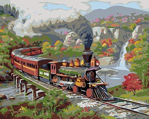 Pintura Al Óleo De Lienzo Diy Tren Del Bosque De Montaña Para Niños Y Adultos Principiante Números Kit De Pintura Acrílica 16 * 20 Pulgadas.40 * 385Cm