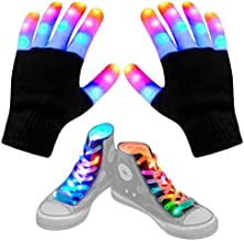 Aywewii LED Gloves for Kids Flashing Finger Light Up Gloves LED Shoelaces Set, LED Warm Gloves Kids Toys for Gifts Indoor(Black)