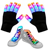 Aywewii Led Finger Gloves, Led Gloves LED Shoelaces Set Light Up Toys for Boys Girls, Flashing Gloves for Christmas Thanksgiving Birthday Glow Halloween Costume Party
