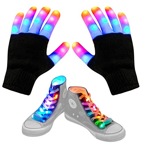 Aywewii Led Finger Gloves, Led Gloves LED Shoelaces Set Light Up Toys for Boys Girls, Flashing Gloves (Black)