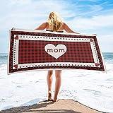 Toalla de Playa de Secado rápido Personalizada roja a Cuadros para el día de la Madre, Toallas de Mano absorbentes Ligeras para baño, Hotel, Gimnasio, SPA, Piscina, natación (27 'x55, corazón de