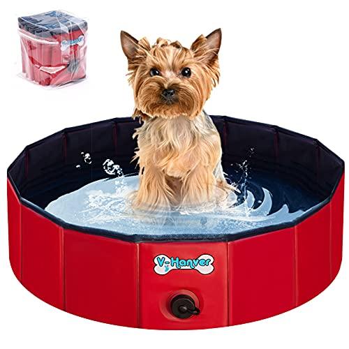 V-HANVER Faltbarer Hundepool für Kleine Mittlere und Große Hunde, Robust Material Planschbecken Bällebad Hunde Pool für Kinder und Hunde mit Durchsichtige Gummitragetasche, 100% Sicher 80CM
