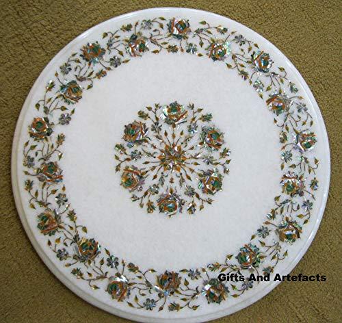 Ronde witte marmer bed zijtafel met behulp van meerdere kleuren edelstenen en Abalone Shell kan worden gebruikt als tuinbank zijtafel, 24 inch