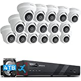 ONWOTE 16 Channel 4K 8MP PoE Security Camera System 4TB, Smart-Human-Detection, Power-Over-Ethernet, (16) Outdoor Audio PoE IP Camera, 16CH H.265 NVR 2 Storage Bays, 16-CH Synchro Playback