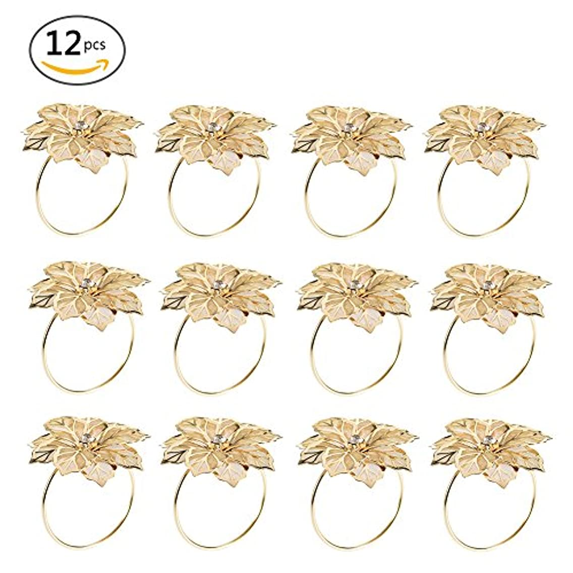 SHZONS Napkin Rings, 12pcs Wedding Cutout Floral Alloy Napkin Rings