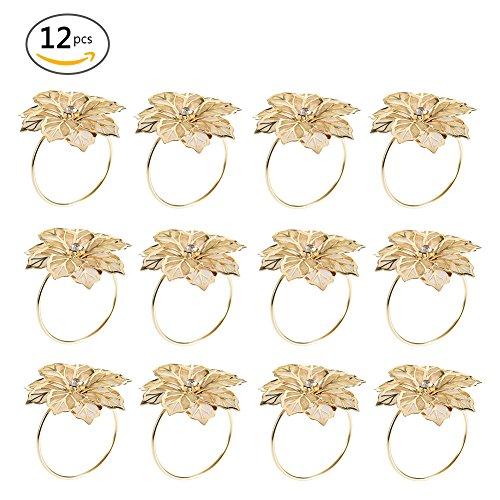 Set di 12 Anelli portatovaglioli Lega Floreale Ritaglio - per Banchetti di Nozze Decorazioni per la Cena di Natale