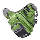 Pwshymi con pequeño Bolsillo Delantero Bolsa de Deporte al Aire Libre Bolsa de sillín de Caballero Práctica Bolsa de Deporte Bolsa de Aparejos de Pesca para Pescar(Green)