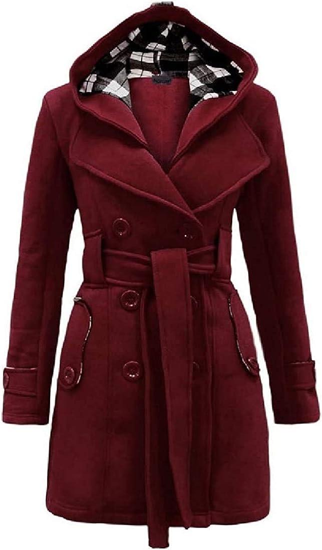 Women Coat Hooded Casual Long Sleeve Belted Thicken Warm Jacket Overcoat