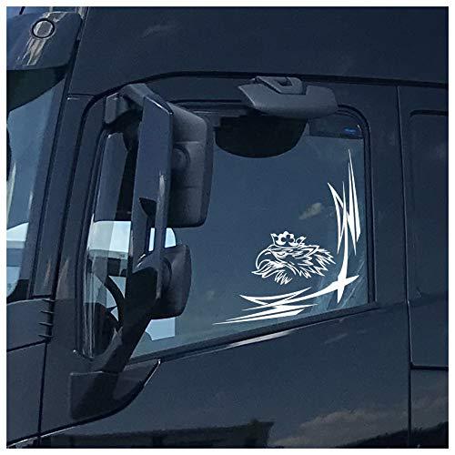 Finest Folia Greif Fensterdekor LKW Aufkleber Dekor Sticker Fenster Scallops Ornamente Rauten KX036 (Weiß Glanz, Innenklebend)
