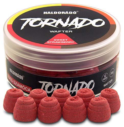 Haldorado Tornado, cebo para fumar o sangrar pellet boilie cebos de pesca, accesorios de pesca de carpa, forma especial, 100% biodegradable, 12 mm de ancho y 11 mm de largo, fresa dulce, rojo