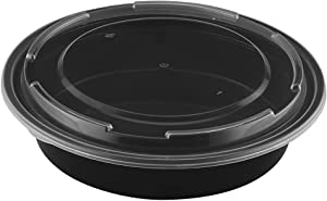 TIYA Takeout Containers - Plastic Food Storage To-Go Round Bowls - Reusable Microwavable Dishwasher Safe Restaurant Takeout Set - Leak Proof and Great for Meal Prep (48 oz Bulk 150 Pack with Lids)