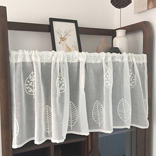 TINE Romeinse gordijn zuiver gordijn wit borduurwerk kleine bloemkast gordijn koffie gordijn keuken kort gordijn halfschaduw klein gordijn voor huis decoratie staaf zak 1 Stk (100 * 90Cm)