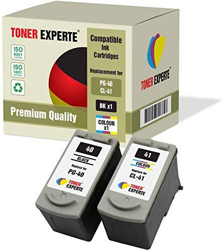 Kit 2 XL TONER EXPERTE PG-40 CL-41 Cartucce d'inchiostro compatibili per Canon Pixma iP1600 iP1800 iP1900 iP2200 iP2500 iP2600 MP140 MP150 MP160 MP170 MP180 MP190 MP210 MP450 MP460 (Nero, Colore)