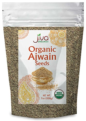 Jiva Organics Organic Ajwain Seeds 7 ounce Bag - Whole Carom Seed, Ajamo, 100% Natural & Non-GMO