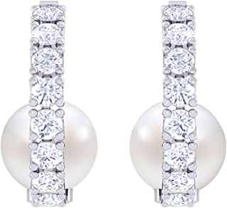 Clara 92.5 Sterling Silver Swiss Zirconia Classic Pearl Earrings Gift for Women and Girls